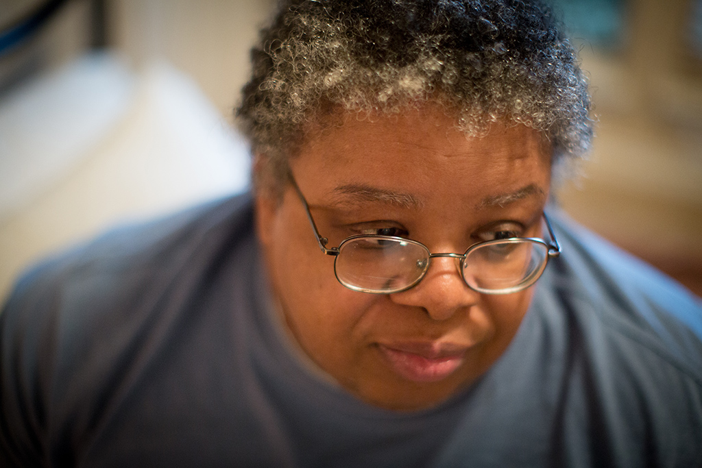 Felicia Rush, 52, says she enjoys living with other people in her Glen Heights, Texas,group home versus living alone in her old garage apartment in Beaumont. (Photo/Allison V. Smith)