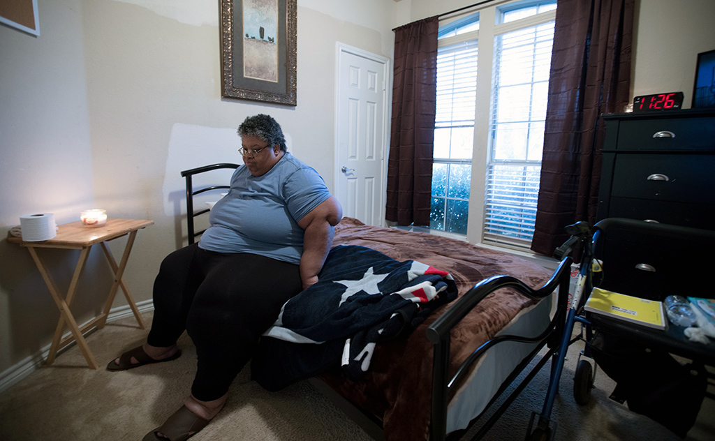Felicia Rush, 52, lives in a group home in Glenn Heights, Texas. She was evacuated from her home after Hurricane Harvey.
