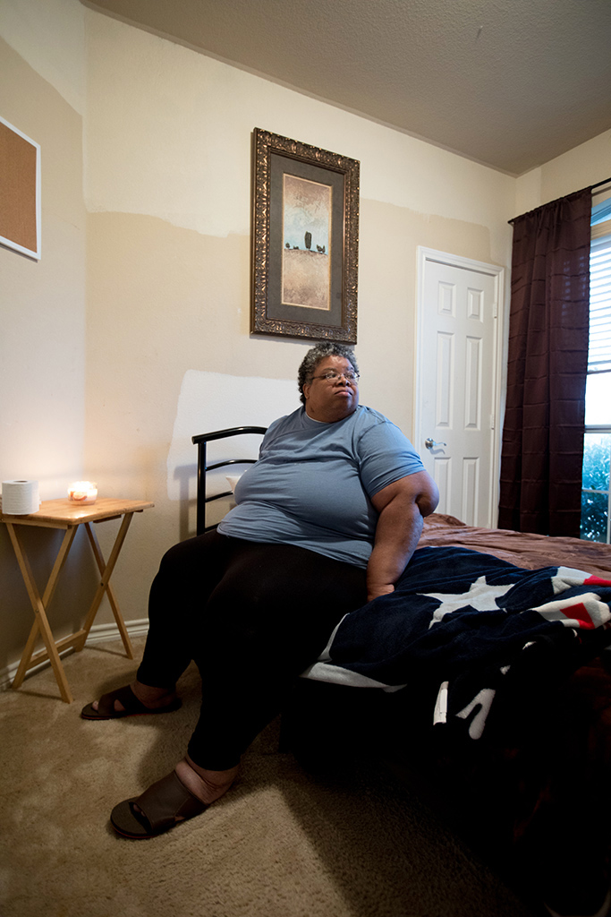 Felicia Rush, 52, lives in a group home in Glenn Heights, Texas. She was evacuated from her home in Beaumont after Hurricane Harvey.
