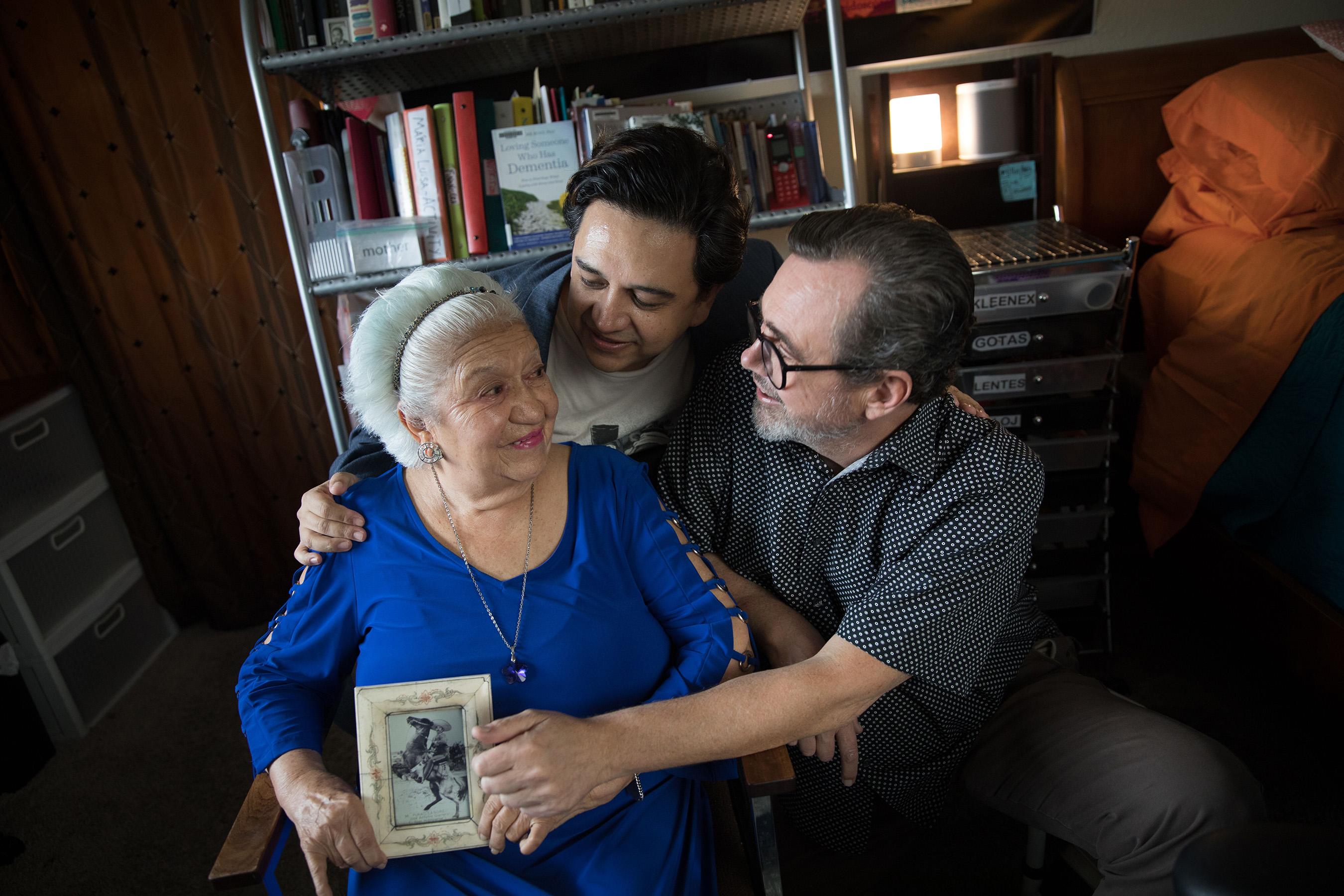 Tech Guerrero, his husband Michael Street and Guerrero's mother, Maria Luisa Castillo Rocha.