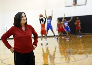GirlÕs Basketball Head Coach Cathy Self-Morgan leads the Duncanville Pantherettes through practice at Duncanville High School. Photographed in Duncanville, Texas on Friday, February 17, 2017. (photo © Lara Solt)