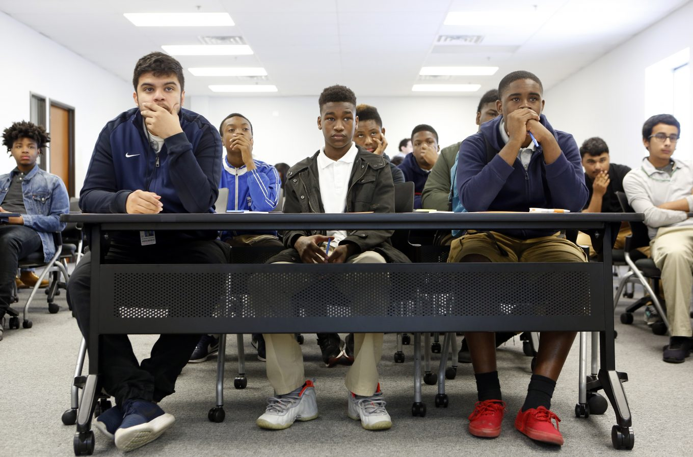 Students listen to a session about career choices at Kimball High School's Academy of Hospitality and Tourism. Photo/Lara Solt