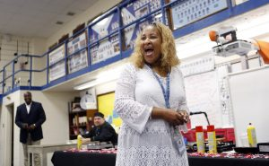 Lajeania Young-Allums talks to community members during a breakfast at O.D. Wyatt High School. When O.D. Wyatt High School opened in 1968, its south Fort Worth neighborhood was mostly white. By the early Ô90s, the school was 90 percent African American. Today, itÕs half Hispanic and has a growing refugee population. Photographed in Fort Worth, Texas on Thursday, February 9, 2017. (photo © Lara Solt)