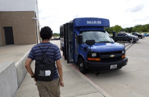 Joel Luera takes a DISD bus home from his classes at Eastfield College Campus where he takes classes as part of W.W. Samuell Early College High School in Dallas. Photographed Monday, April 18, 2016. (photo © Lara Solt)