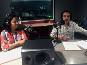 KERA education reporters Stella M. Chávez and Bill Zeeble in studio.