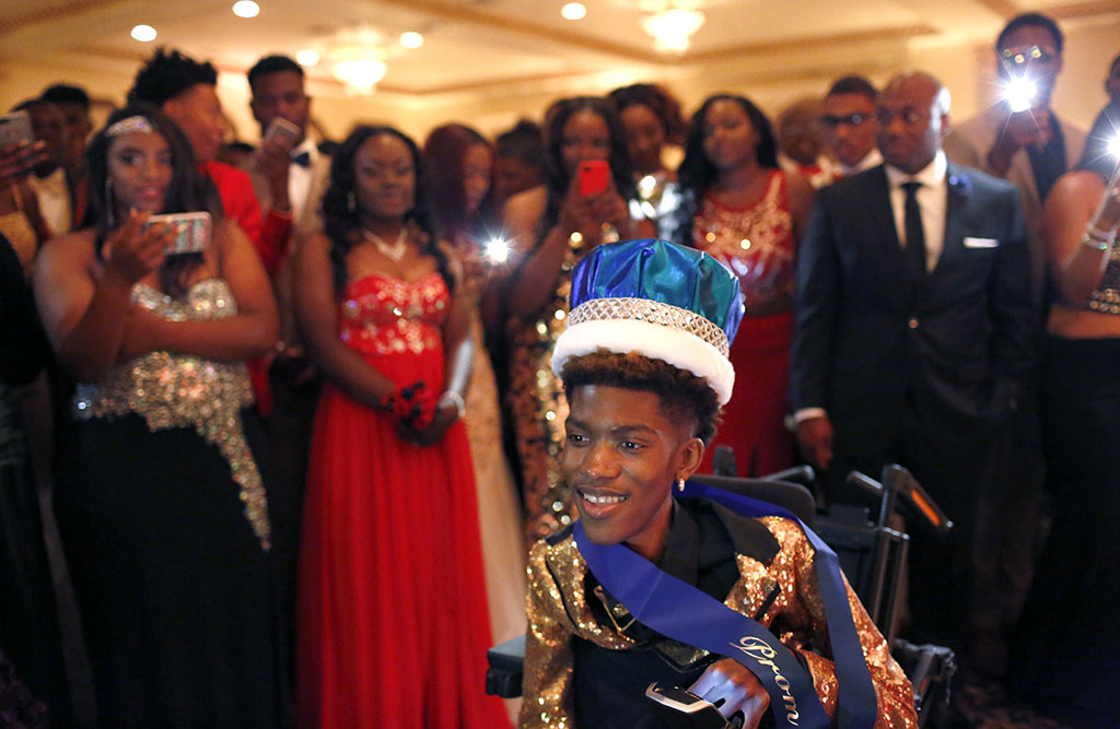 Chance Hawkins is crowned prom king at the Dunbar High School prom in Arlington on May 6. Photo/Lara Solt