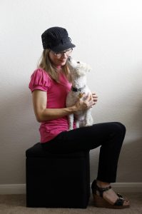 Katie Combest with her dog, Strudel, at her home in Lewisville on Friday, September 2, 2016. (photo © Lara Solt)
