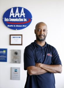 Programmer Angelo Collins at AAA Data Communications Inc. in Dallas, Texas on Thursday, September 15, 2016. (photo © Lara Solt)
