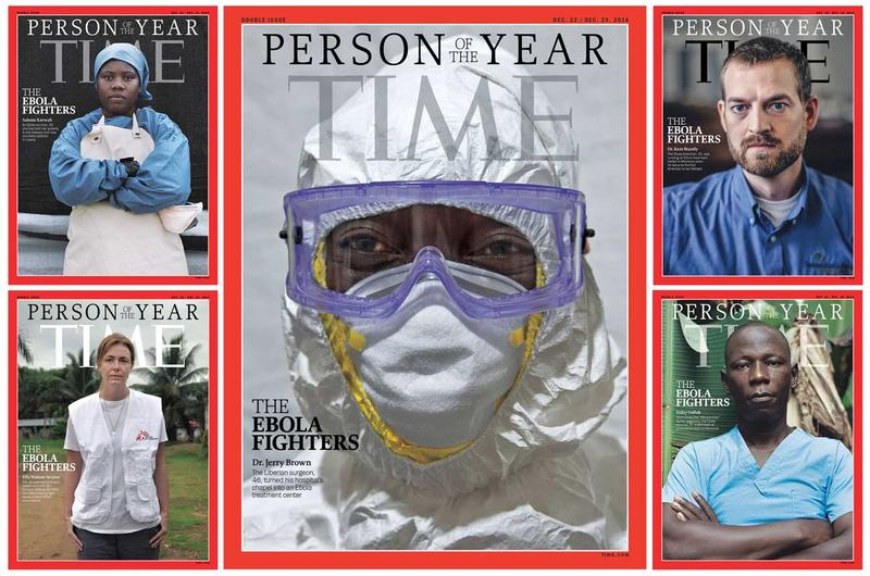 Doctors, nurses and others who fought back against Ebola have been named Time's Person of the Year for 2014. Photo: Time Magazine