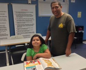 Brandy Salmeron and her father visited the Grapevine Community Outreach Center.