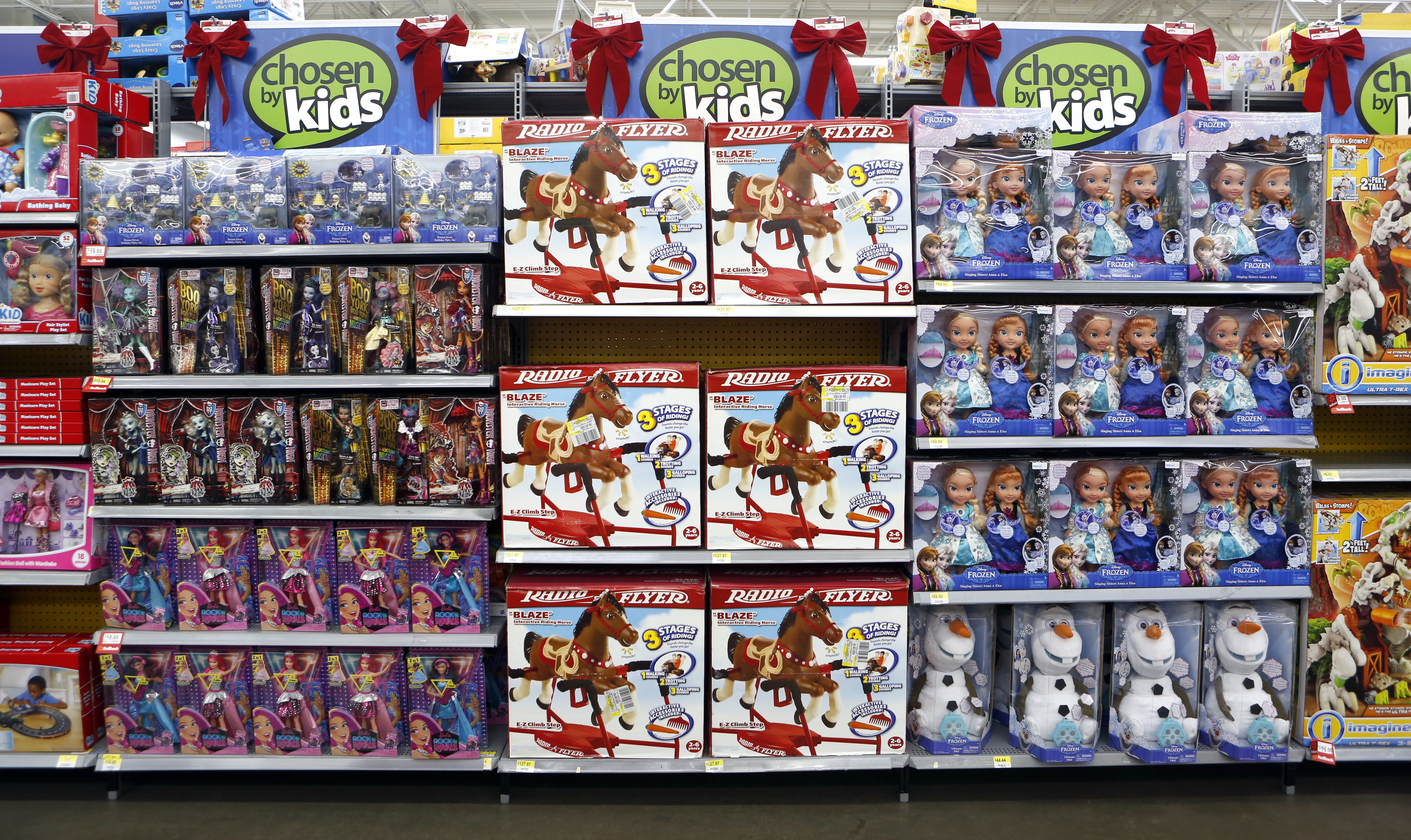 Shelves stocked with toys at Walmart in Dallas. Photo/Lara Solt