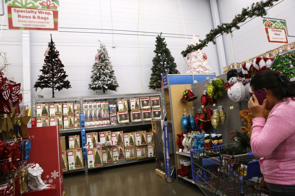 Christmas trees on display at Walmart in Dallas. Photographed on Monday, November 16, 2015. Photo/Lara Solt