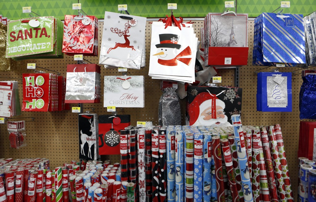 Shelves stocked Christmas paper and bags at Walmart in Dallas. Photo/Lara Solt