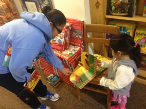 Chastity Lopez and daughter Bella on Black Friday (Nov. 27, 2015) at Half Price Books in Dallas. Photo/Courtney Collins