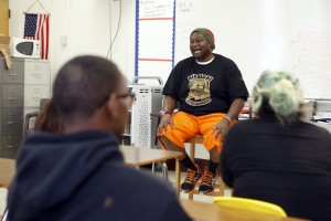 Charles 'CJ' Johnson during an Action Team meeting at North Dallas High School. Photo/Lara Solt