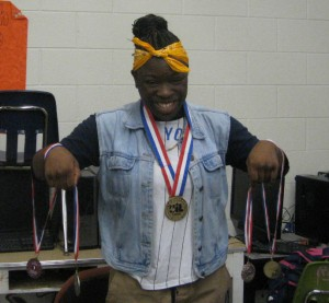 Kymberly Jackson, who is homeless, has earned a national wrestling title. Photo/Bill Zeeble