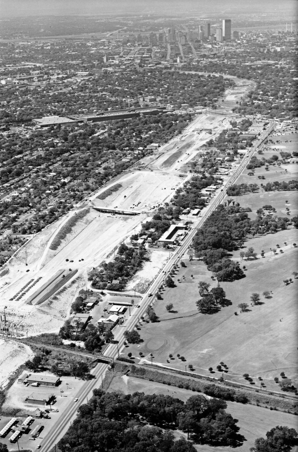Construction of Interstate 30 in the 1960s changed neighborhoods such as Jubilee Park. Photo Credit/The Dallas Morning News archive