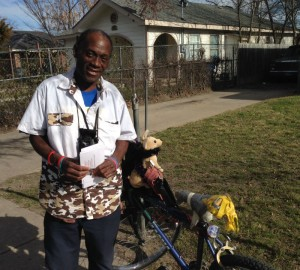 Sherman Turner travels by bike. Photo/Courtney Collins