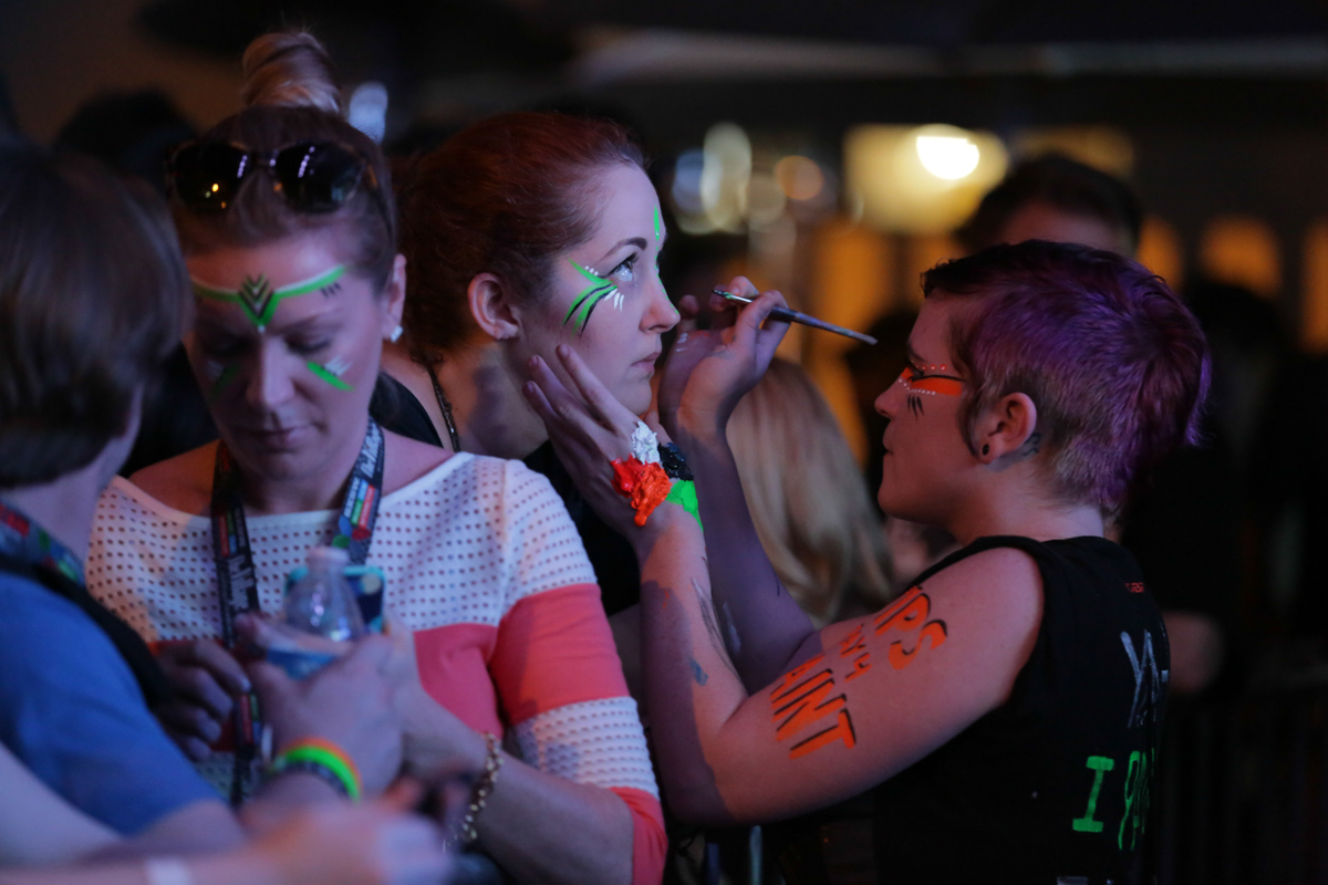 Face painters at the Robert Delong show at Pandora Discovery Den.