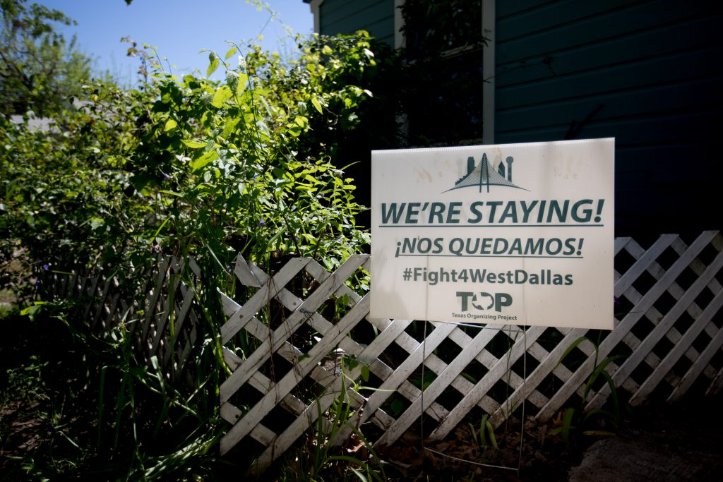 A sign in Joe Garcia's yard on McBroom in west Dallas. Photo/Allison V. Smith
