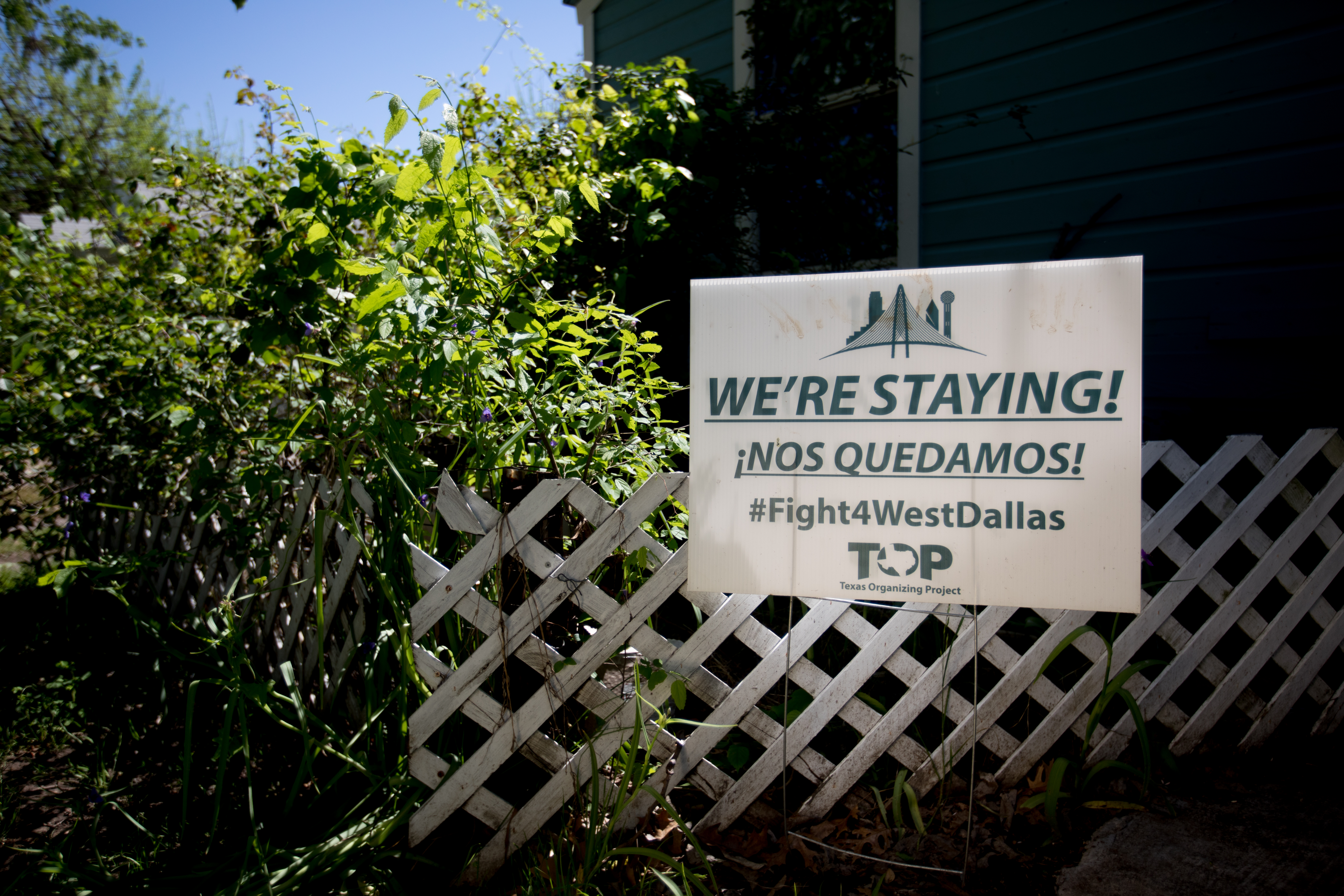 A sign in Joe Garcia's yard on McBroom in west Dallas. Photo/Allison V. Smith