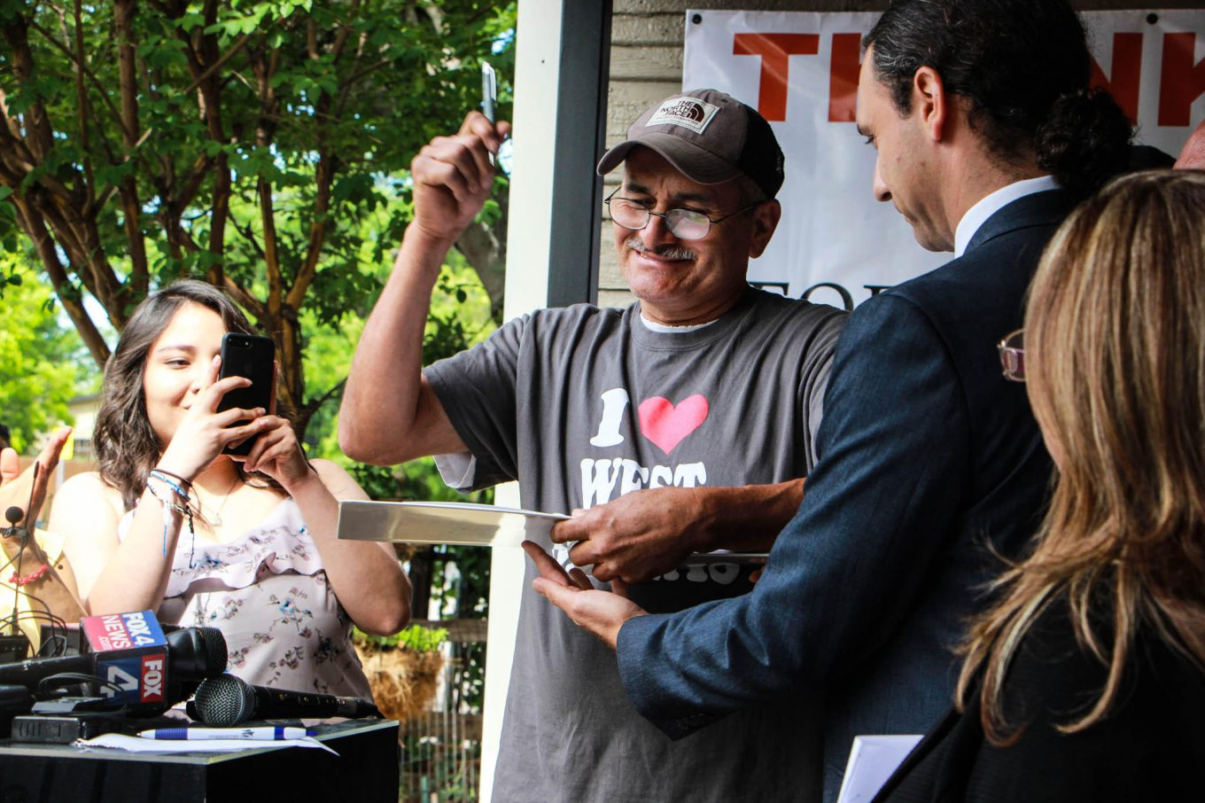 Merced Correa is a longtime renter who appeared at a news conference on Monday to celebrate the house he's about to buy in West Dallas. Photo/Jessica Diaz-Hurtado