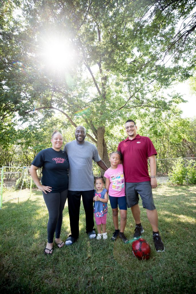 Left to right: India Wilson; her father, Marc Wilson; her daughters Meilani Alcendra, 2, and Brayden Wilson, 8; and her husband, Jose Alcendra; at India and Jose's home in Garland in August 2019.