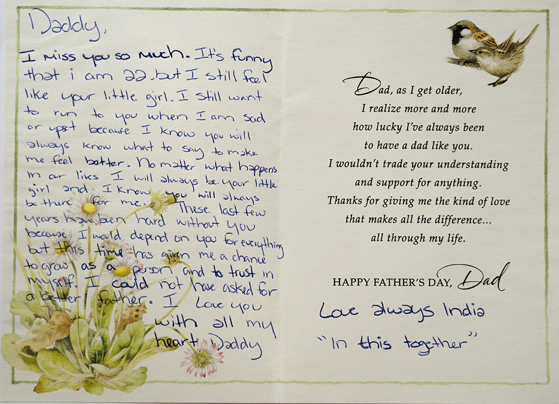 One of the cards India sent to her father in prison, when she was 22. (Photo: Thorne Anderson for KERA)