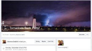 "A screenshot from Facebook event for Jessica Cadick's ""Tornadoes Suck"" party set for Dec. 26."