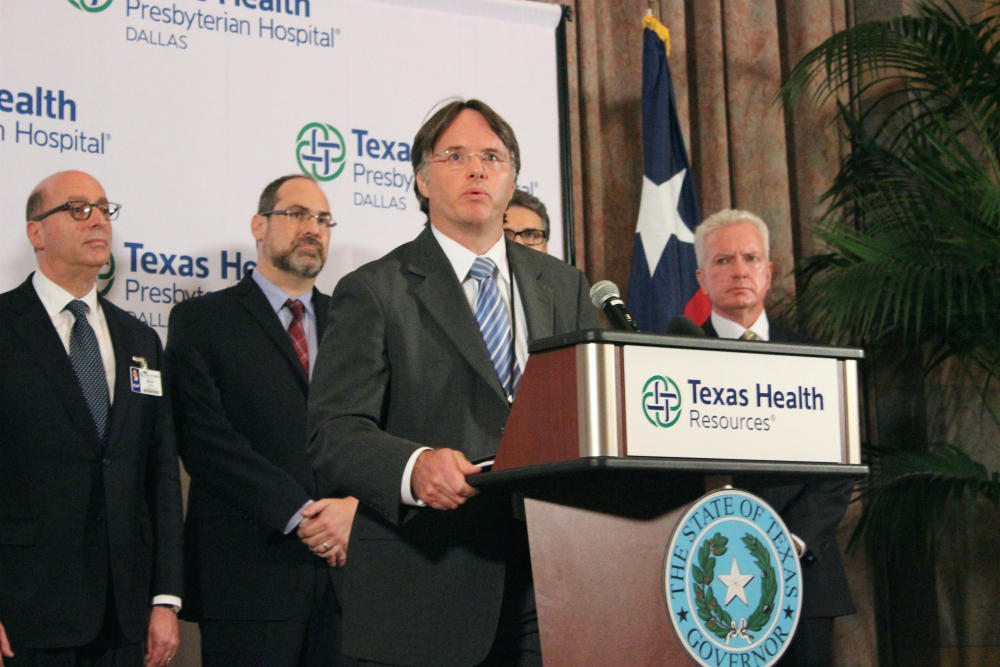 Dr. David Lakey at a press conference Oct. 1, 2014. Photo: Krystina Martinez