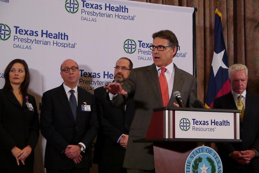 Former Governor Rick Perry speaking at Texas Health on Oct. 1, 2014. Photo: Doualy Xaykaythao.
