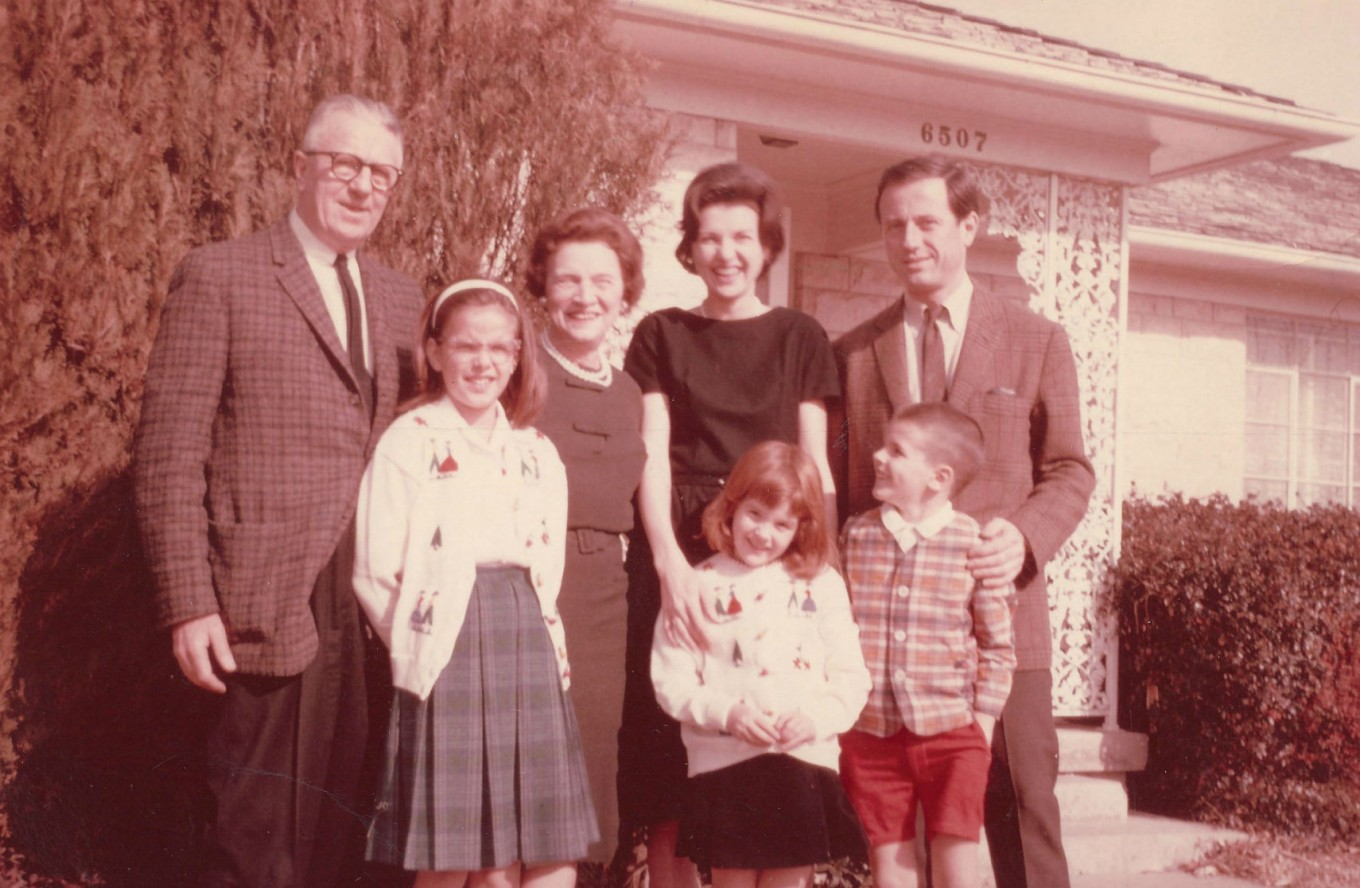 Courtney Sands, center, and her family stand in front of her Dallas home in the 1960s. Courtesy Heather Stephens