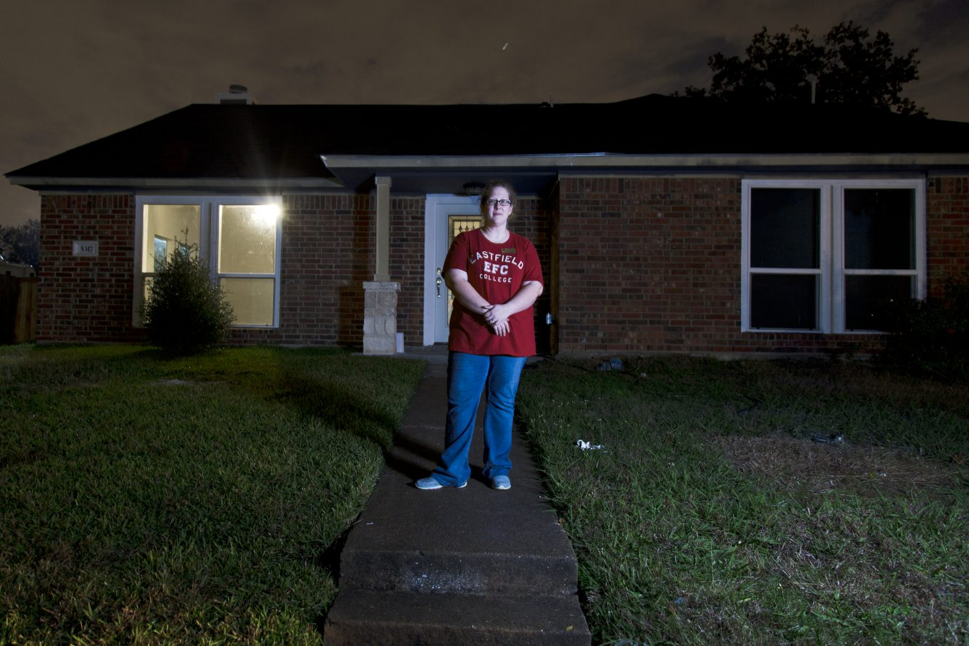 Jessica Cadick lost her rental home in the storms that tore through North Texas last December. Photo/Samantha Guzman