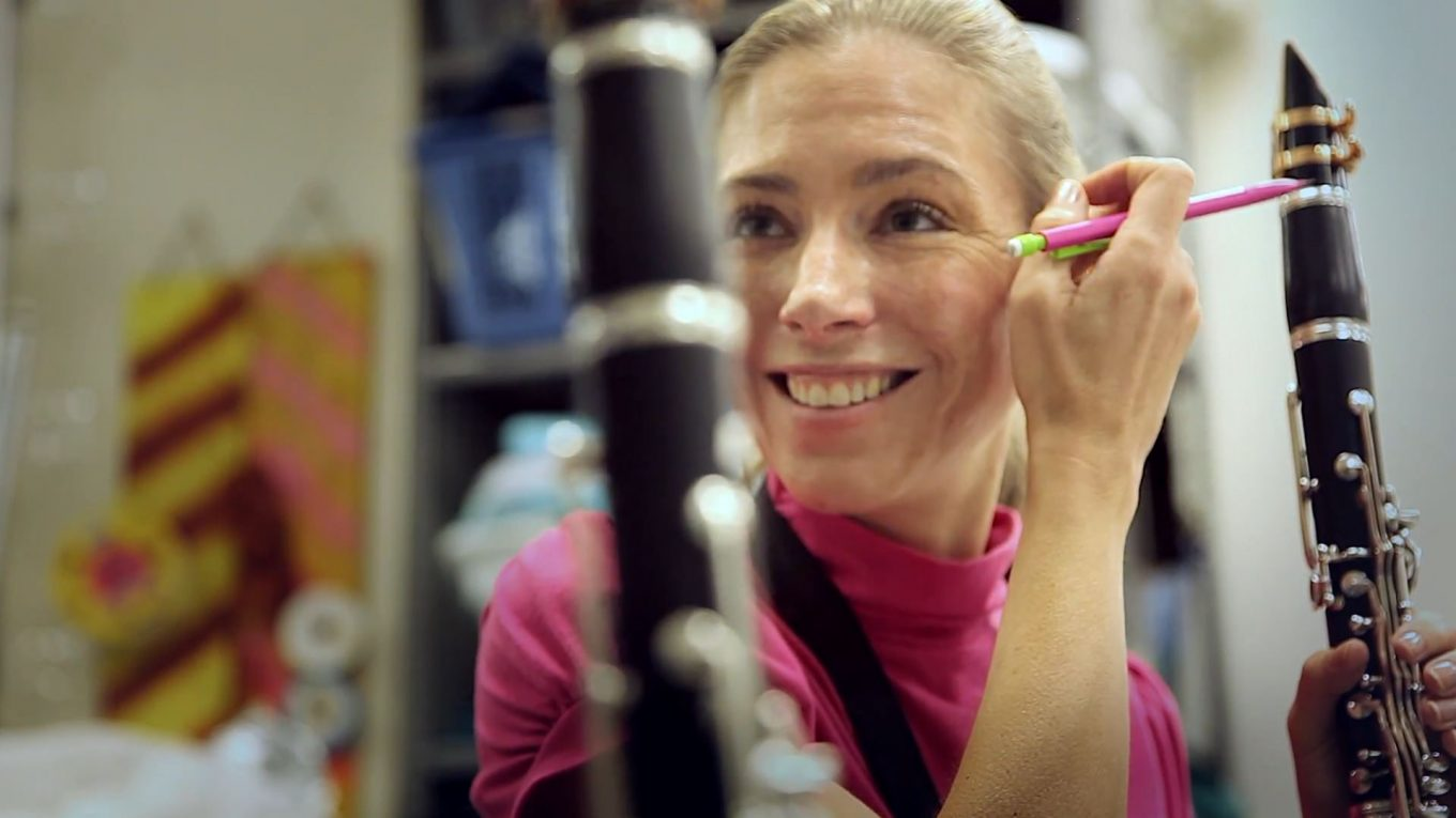 Katie Combest of Lewisville teaches and plays clarinet for a living. Photo/Thorne Anderson