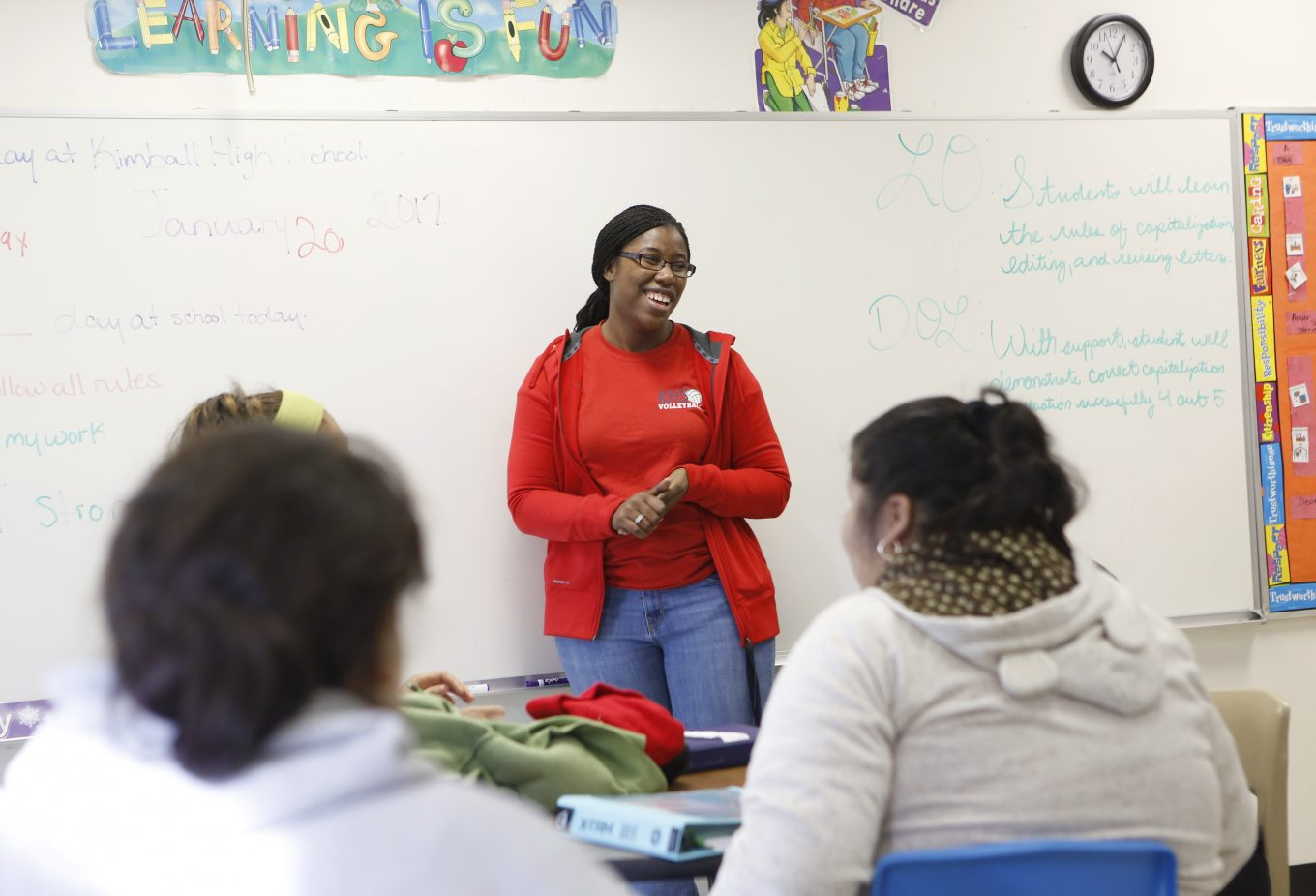 Monica Gray Rhinehart, a 2005 graduate of Kimball High, is now a teacher and coach at the Dallas school. Photo/Lara Solt