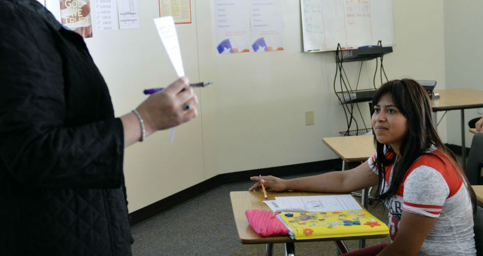 Dilcia M. Asencio Mazariegos in an ESL class in Plano. Photo/Christina Ulsh
